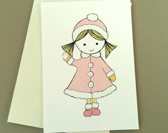 Snowy Dolly - Notecard - Greeting Card - little girl pink and white