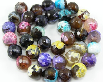 Agate bead 10 mm mixed strand of 37 pieces C2 faceted