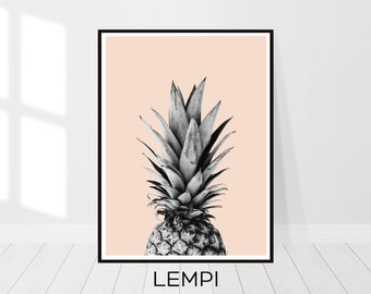 Pineapple Print, Pineapple Art, Fruit Print, Kitchen Art, Pineapple Printable, Black and White Print, Modern, Minimalist, Instant Download