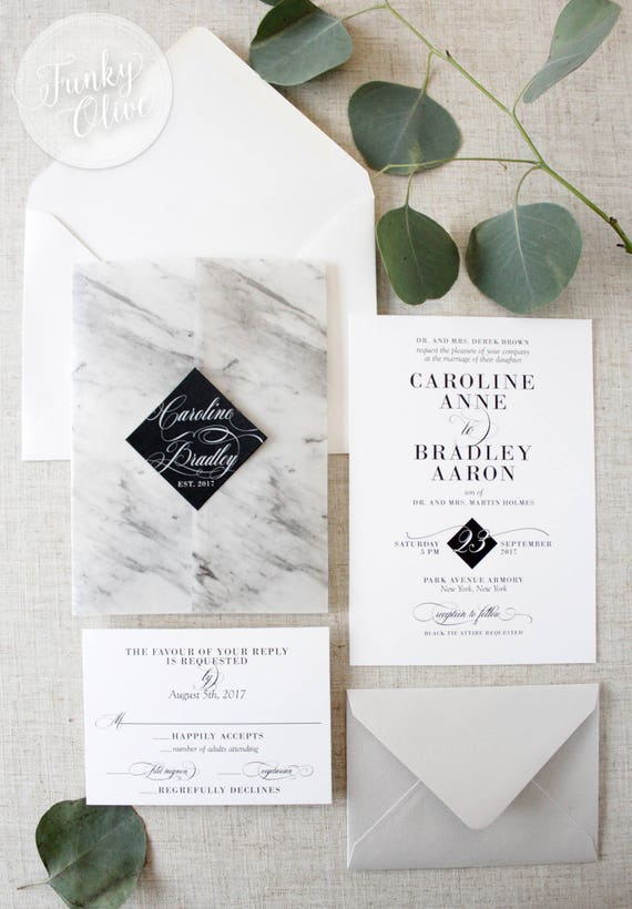 marble vellum wrap wedding invitation package black tie