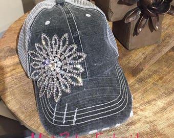 Distressed Black Hat Floral Rhinestone Hat Distressed Baseball Cap Rhinestone Trucker hat
