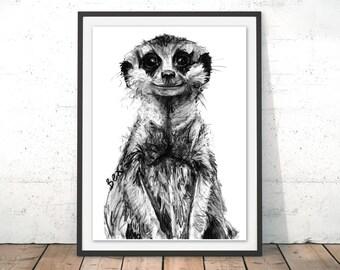 Meerkat Art Print, Meerkat Framed Wall Art, Meerkat Illustration, Meerkat Print, Meerkat Gift for New Home, Meerkat Home Decor by Bex