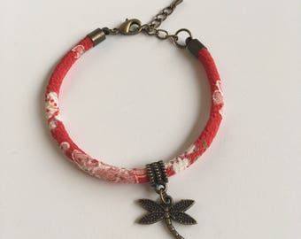 Red Japanese chirimen cord and Dragonfly charm bracelet