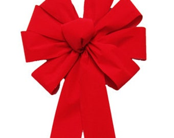 "Red Velvet Outdoor Christmas Bow 9"" Width, Outdoor wreath bow, red bow, christmas bow, Christmas tree bow, red velvet bow Red Christmas bow"