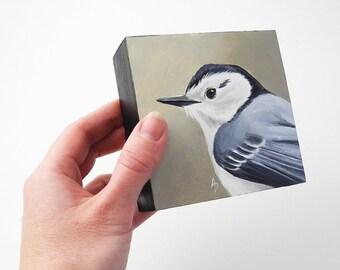 Nuthatch backyard bird painting - birdwatching art - nuthatch painting - woodland bird decor - square art block - realistic wildlife art