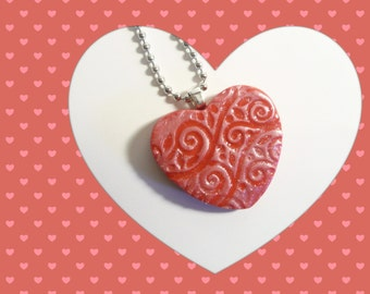 Red Heart Pendant, Optional Chain Necklace, Everyday Jewelry, Romantic Gift for Her, handmade polymer clay
