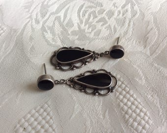 NF 925 black onyx & sterling silver earrings