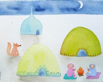 new price! Nomad Campfire - Original Watercolour - A4 Size