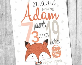 Digital Printable Birth Announcement Print Birth Announcement Wall Art  Birth Stats Print  Nursery Wall Art