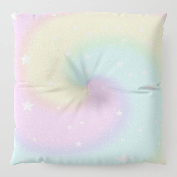 """Rainbow Swirls and Stars FLOOR Pillow, Square 26"""" and 30"""", Floor Cushion, Eye Candy, Dorm, Teen Decor, Office,Home Statement Piece, Large"""