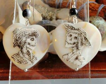 Day of the dead Skull skeleton Mother of Pearl heart shaped shell  drop earrings - Ooak - Halloween - Dias de las muertos - goth - Xmas gift