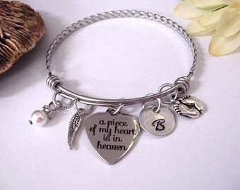 Baby Memorial, Infant Loss, Baby Memorial Gift Bracelet, Grieving Mom, Miscarriage Remembrance A Piece of my Heart is in Heaven, Bereavement