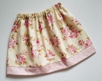 4t Girls Skirt with Roses Summer Skirt 4 Toddler Skirt Girls Clothes with Roses Cottage Roses Floral Skirt Little Girls Skirt Ready to Ship
