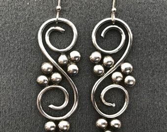Handmade Long Sterling Silver Earrings . Free shipping.