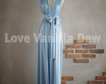 Bridesmaid Dress Infinity Dress Powder Blue Floor Length Maxi Wrap Convertible Dress Wedding Dress