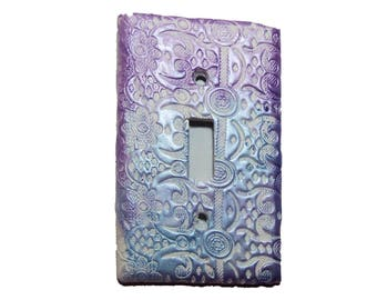 Lace Decorative Switch Plate Clay -  Pastel Purple  blue lace switchplate - pastel nursery - Blue lace switchplate -