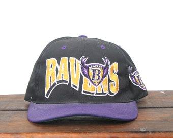Vintage 90's Baltimore Ravens Football NFL Old Banned Logo Snapback Hat Baseball Cap
