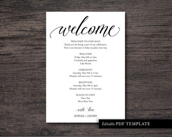 Wedding Itinerary Template | Wedding Itinerary PDF Template | Wedding Itinerary Editable PDF Template | Instant Download | PDF Template