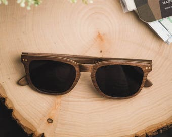 Walnut & Maple Wood Frame Sunglasses, Polarized Men's Wood Sunglasses - ALP-W