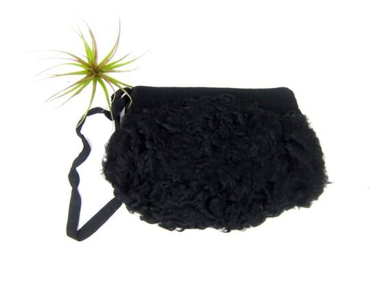 antique 1940s vintage black fur muff Persian hand warmer purse with zipper Vintage Pouch Purse