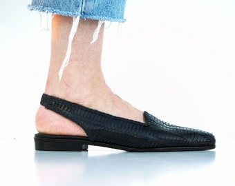 Size 7.5: Trotters Brand 80's Vintage Leather Woven Sling Back Flat Minimalist Basic Woman's Retro Flat Shoes