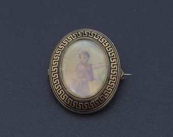 10K Yellow gold Enamelled Mourning Style Victorian Pin, Circa 1880
