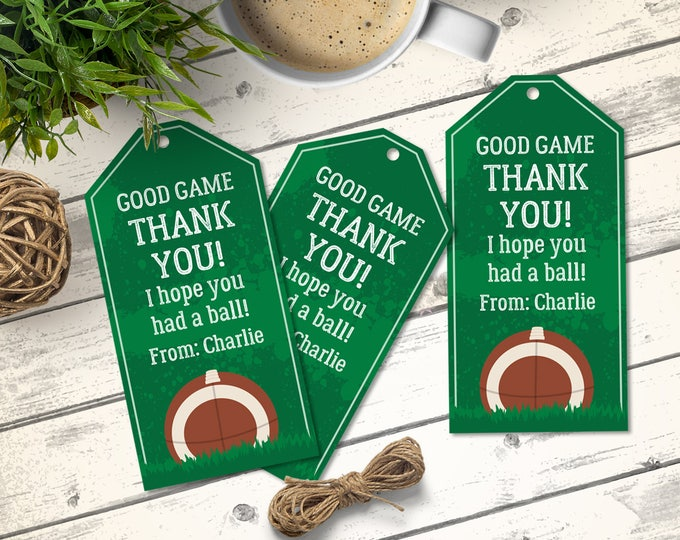 Football Favor Tag - Football Birthday, Tailgate, Super-Bowl, Bowl Party | Editable Text - Instant Download PDF Printable