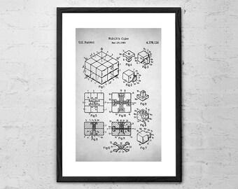Rubik's Cube - Patent Prints - Rubik's Cube Poster - Rubik's Cube Patent - Rubik's Cube Print - Rubik's Cube Wall Art - Rubiks Cube Wall Art