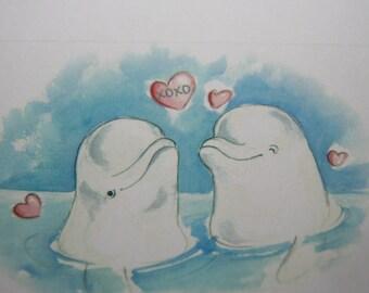 Belugas Valentine Card - XOXO - Happy  Valentines Day Card