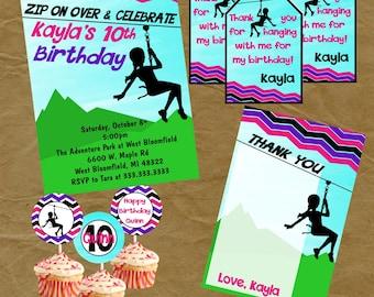 Zipline invitation custom printable teen boy birthday party zipline zip line party birthday package invite thank you tags thank you note and stopboris Gallery