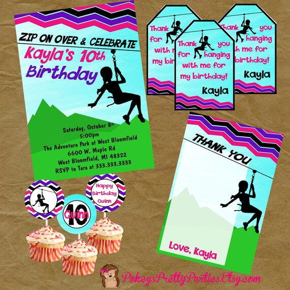 Zipline zip line party birthday package invite thank you stopboris Gallery