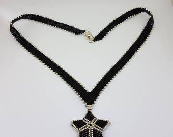 Star 3D peyote v pendant necklace