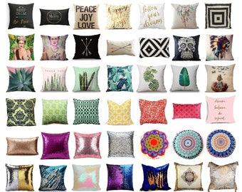 Pillow Cover Magical Mermaid Decorative Sequin Linen Green Room Happy Holla Days Sugar Skull Peace Joy Love Tropical Leaf Moroccan Pompom 16
