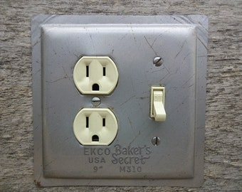 Kitchen Light Switch Covers Outlet Cover Lighting Made From An Old Vintage Ekco Bakers Secret Cake Baking Pan OLC-1042C-R