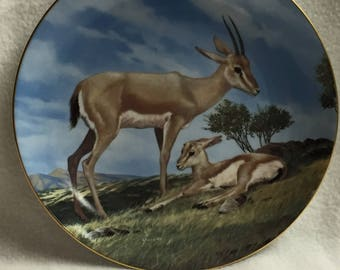 W.L. George Last of Their Kind: The Endangered Species Collector Plate - 'The Slender-Horned Gazelle' (#147)