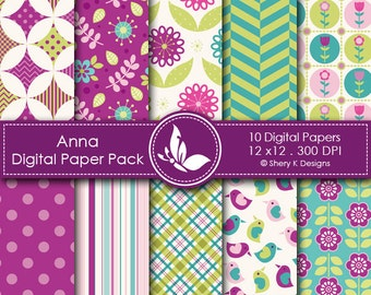Anna Paper Pack - 10 printable Digital Scrapbooking papers - 12 x12 - 300 DPI