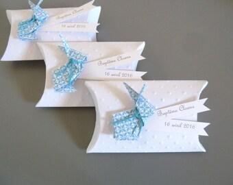 Boîte à dragées baptême garçon + lapin en origami papier graphique bleu- cadeau de remerciement invités  anniversaire, baptême, mariage