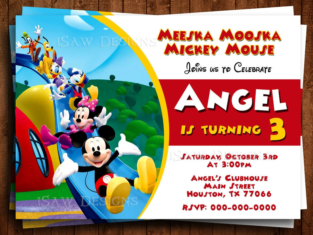 MICKEY MOUSE CLUBHOUSE Digital Personalized Invitations