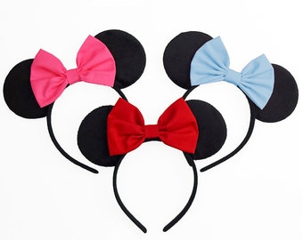 Minnie Mouse Ears Mouse Ears Bow Halloween Costume Blue Minnie Ears Blue Minnie Mouse Bow Blue Mickey Ears Headband Blue Minnie Mouse Outfit