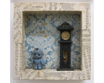 Never enough time. Vintage hymn book, reclaimed wooden toy clock, paper and clay on wooden box. 16 x 16cm. (7 x 7 inches.)