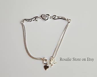 Sterling Silver Heart Angle Bracelet, cute gift for girlfriend, Christmas gift for daughters/sisters, holiday gift for co-worker/neighbors