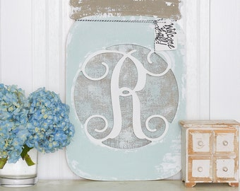 "21.75"" Unfinished Monogram Mason Jar Wreath or Door Hanger! Every Southern Home Needs One!"