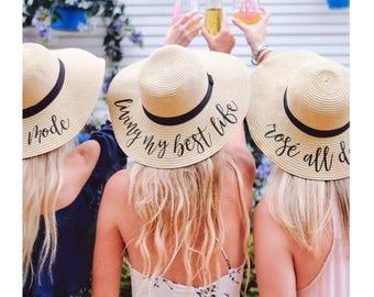 Custom Saying Floppy Beach Hat // Bachelorette Trip // Honeymoon // Beach Weekend