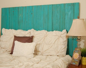 Turquoise Weathered Look - King Hanger Headboard with Vertical Boards. Mounts on wall. Adjust height to your convenience. Easy installation.