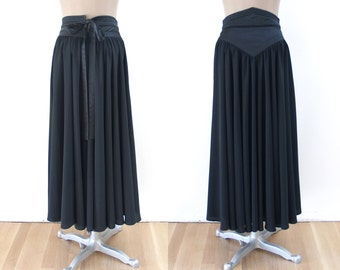 Vintage Full Black Midi Skirt 28 inch waist - Wayne Clarke Aline Marelle punk 80s 1980s S Small