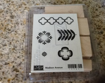 Madison Avenue Stampin Up Vhtf New Retired Wooden UnMounted 5 pc Stamp Set Look Deal Collectors Item Stamps NIB