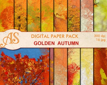 Digital Golden Autumn Paper Pack, 16 printable Digital Scrapbooking papers, Leaves Collage, Decoupage papers, Instant Download, set 206