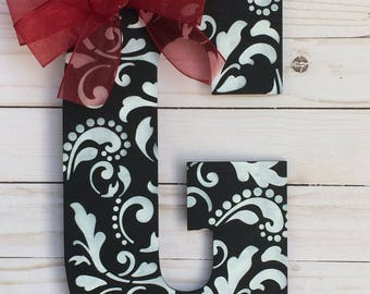 Monogram Door Hanger - Door Decoration  - Damask Door Hanger  - Initial Door Hanger - Room Wall Hanger - Monogram Wall Hanger - Porch Decor