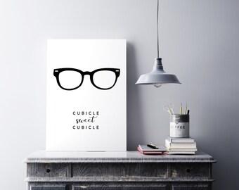 Cubicle Sweet Cubicle art print - Office art - Printable men gift - Cubicle wall art - Office decor - Cubicle decor - Minimalist art