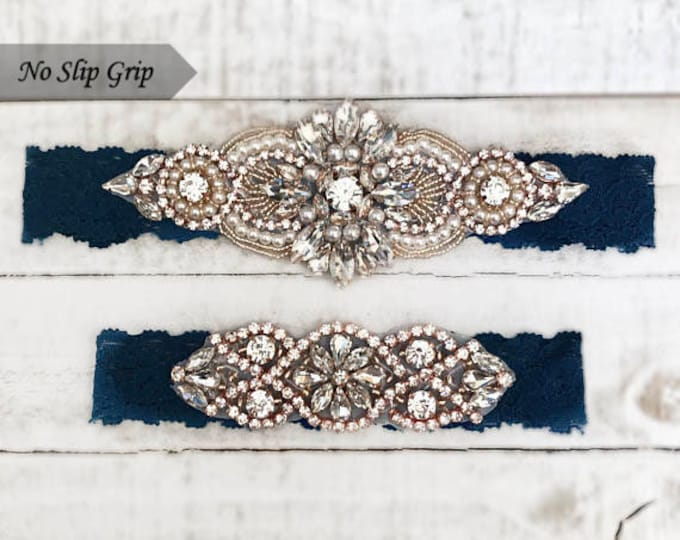 Rose gold Bridal Garter, navy garter, NO SLIP Lace Wedding Garter Set, bridal garter set, vintage something blue D04RG-D02RG